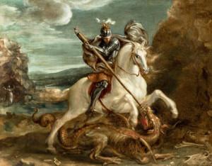 obraz Hanse von Aachen, svatý Jiří na koni probodává draka