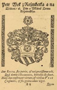 list ze sborníku Šimona z Budče Lomnického s erbem Petra Voka z Rožmberka, NKP, sign. D.152
