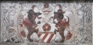 Rožmberský erb, freska na renesanční radnici v Prachaticích