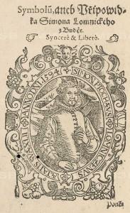 portrét Šimona Lomnického ve věku 42 let, rok 1594, ilustrace ze sborníku, uloženém v NKP pod sign. D.152