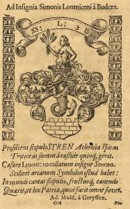 list ze sborníku Šimona z Budče Lomnického s jeho osobním znakem, NKP, sign. D.152